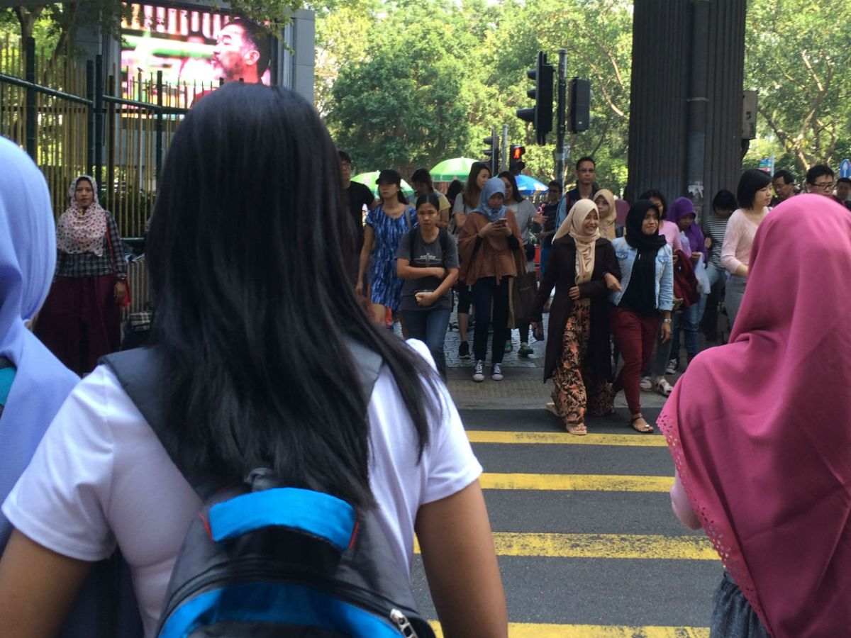 Indonesian domestic workers in Causeway Bay on Hong Kong Island. Photo: Asia Times