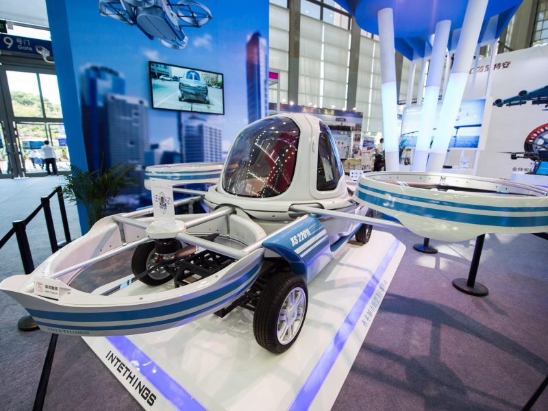 This flying car prototype in China may get off the ground before the Japanese version. Photo: AFP