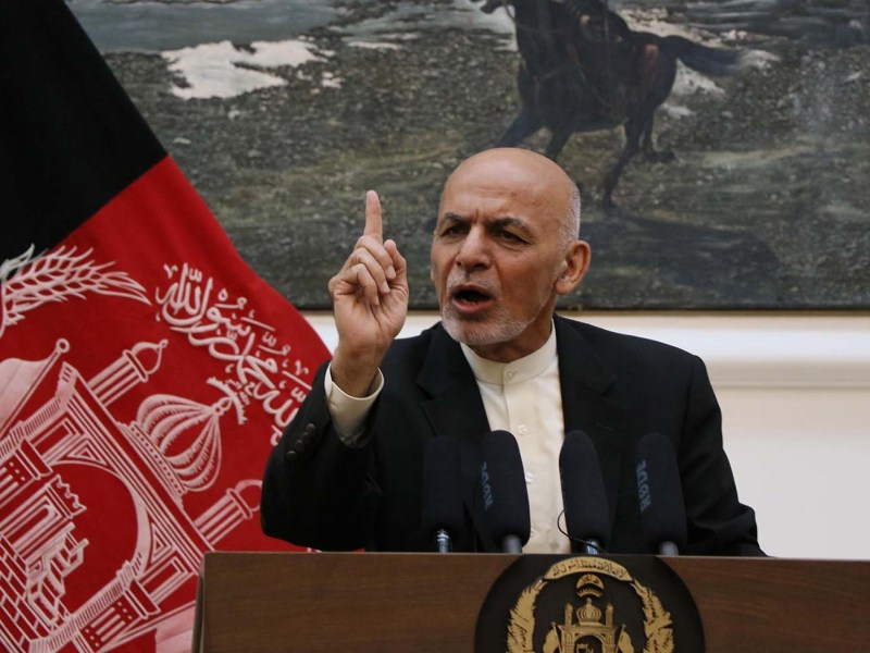 Relations between Afghanistan and Uzbekistan have been warming up recently. Afghan President Ashraf Ghani speaks at the presidential palace in Kabul on July 15, 2018. Photo: Anadolu Agency/Haroon Sabawoon