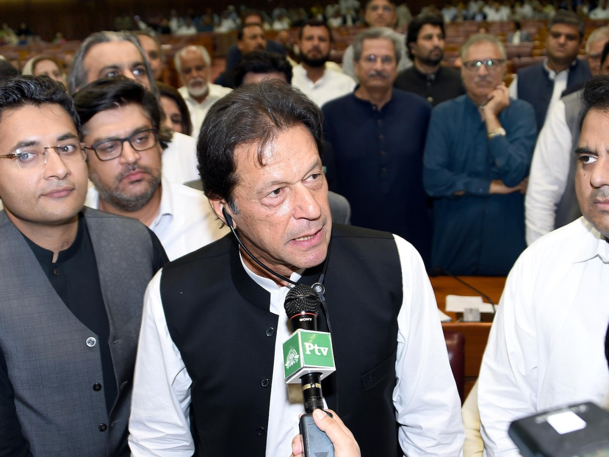 Pakistan's new Prime Minister Imran Khan addresses lawmakers after being elected by the National Assembly in Islamabad on August 17, 2018. Photo: AFP/ handout