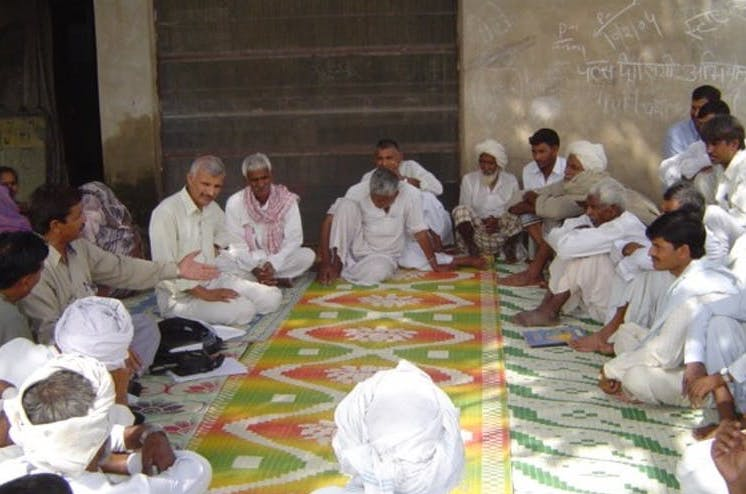 A Panchayat meeting in the Mewat district of Haryana, India, in 2004. Photo: Wikipedia / Jawad Kadir / Lancaster University