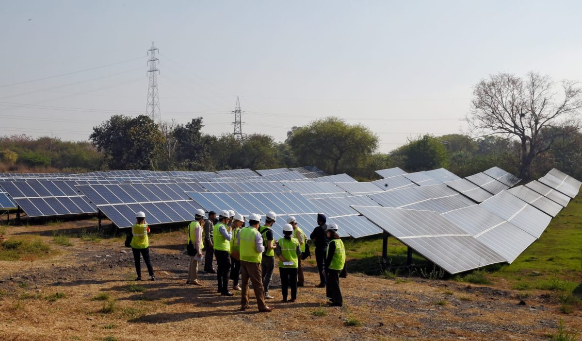 The Azure solar power plant next to the closed Indraprastha power station site in New Delhi. Photo: AFP/Money Sharma