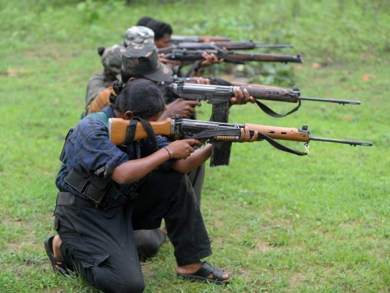 Indian Maoists train in a camp in a forested area in Chhattisgarh on July 8, 2012. Photo: AFP/Noah Seelam