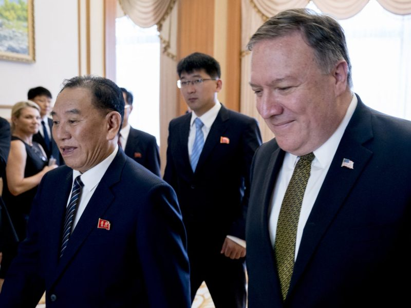 US Secretary of State Mike Pompeo (right) and Kim Yong Chol, who wrote a letter to Pompeo which led to the cancellation of his trip to Pyongyang. Photo: AFP/Andrew Harnik