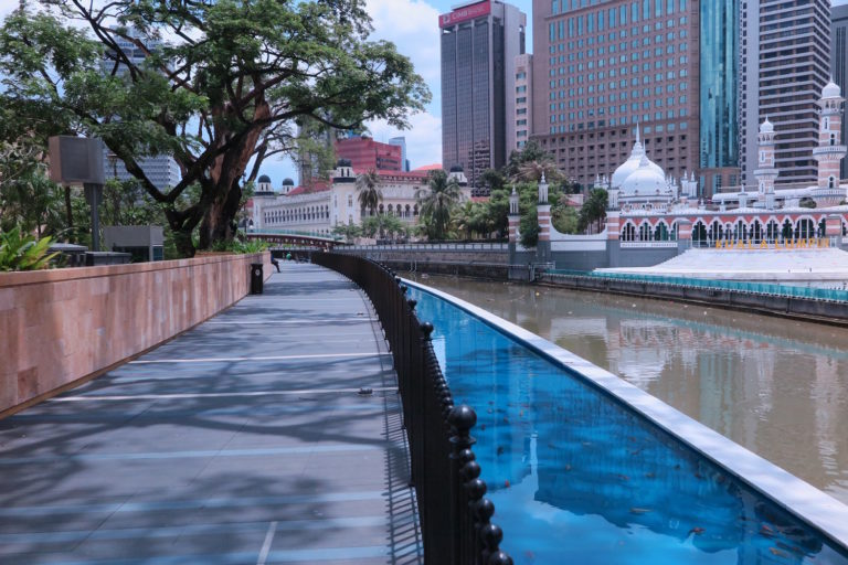 The River of Life, one of the most expensive river restoration projects ever undertaken, has transformed the Klang River shoreline in Kuala Lumpur. Photo: Keith Schneider