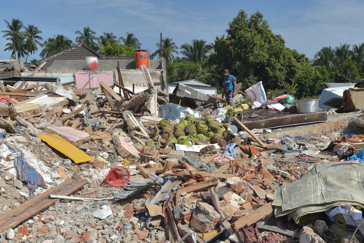 The shatteredremnants of homes in Pemenang, northern Lombok, following the Aug. 5 earthquake. Photo: AFP / Adek Berry