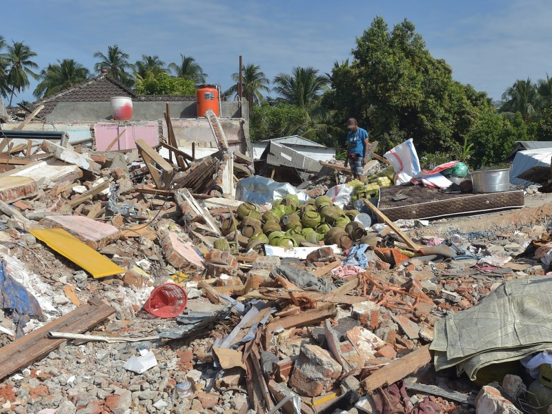 The shattered remnants of homes in Pemenang, northern Lombok, following the Aug. 5 earthquake. Photo: AFP / Adek Berry