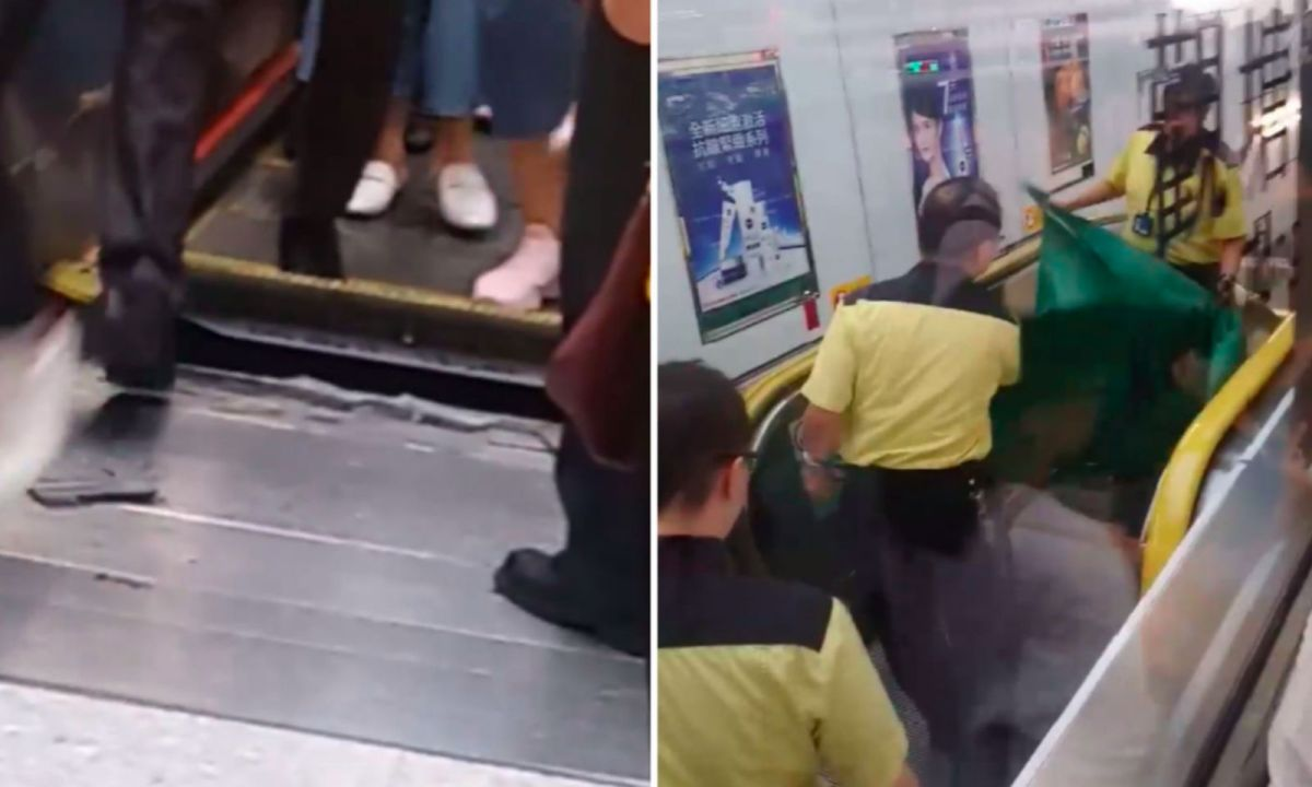 An escalator breaks down at Kwun Tong Station in Kowloon Photo: Facebook / Ka Li