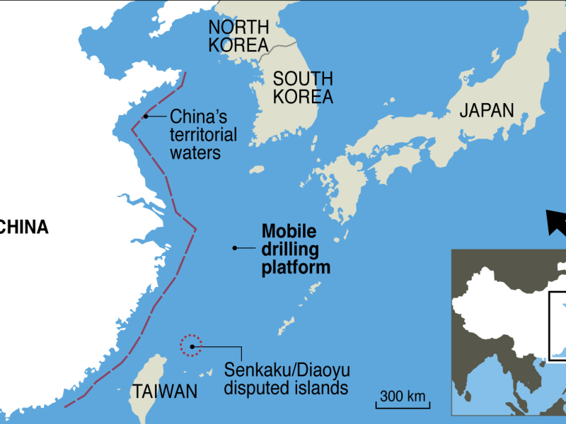 Approximate location of China's exploratory drilling platform. Image: AFP; Location source: AMTI