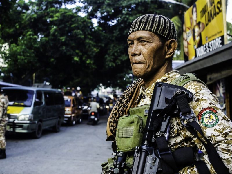 Moro Islamic Liberation Front (MILF) members secure Camp Darapanan in Sultan Kudarat, Maguindanao on the southern island of Mindanao on July 29, 2018.Photo: AFP/Ferdinandh Cabrera