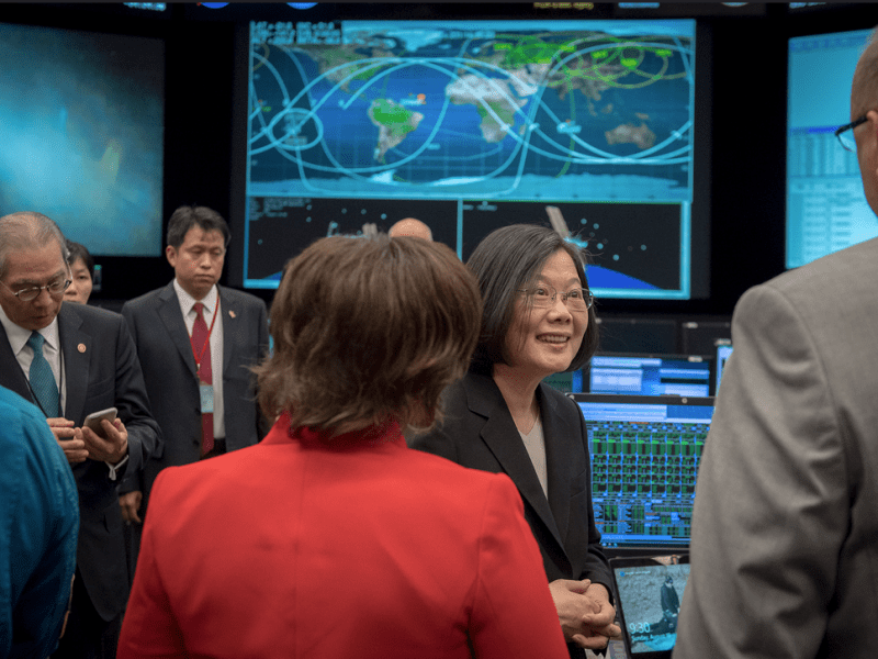 Taiwanese President Tsai Ing-wen (second, right) chats with technicians inside NASA's Mission Control Center in Houston, the first time a sitting Taiwanese leader has been inside a venue of the US federal government. Photo: Presidential Office of Taiwan