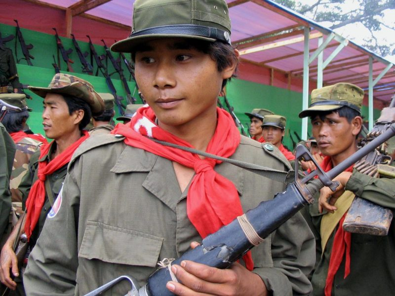 Young soldiers from the Shan State Army in Lecha township, Southern Shan State, on July 16, 2006. Photo: AFP/Hla Hla Htay