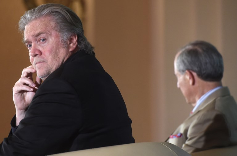 Steve Bannon (left), former strategic adviser to US President Donald Trump, and Lanny Davis, former special adviser in the White House and supporter of Hillary Clinton, attend a discussion focusing on US developments on May 22, 2018, in Prague. Photo: AFP / Michal Cizek