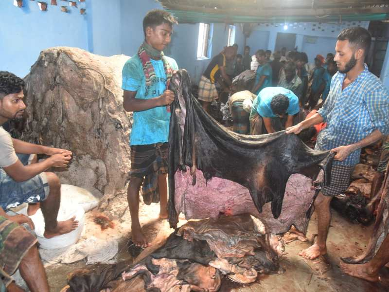 A Bangladeshi trader in Dhaka, left, waits to sell rawhides from animals sacrificed during the Eid-Ul-Adha festival. Photo: Mamunur Rashid