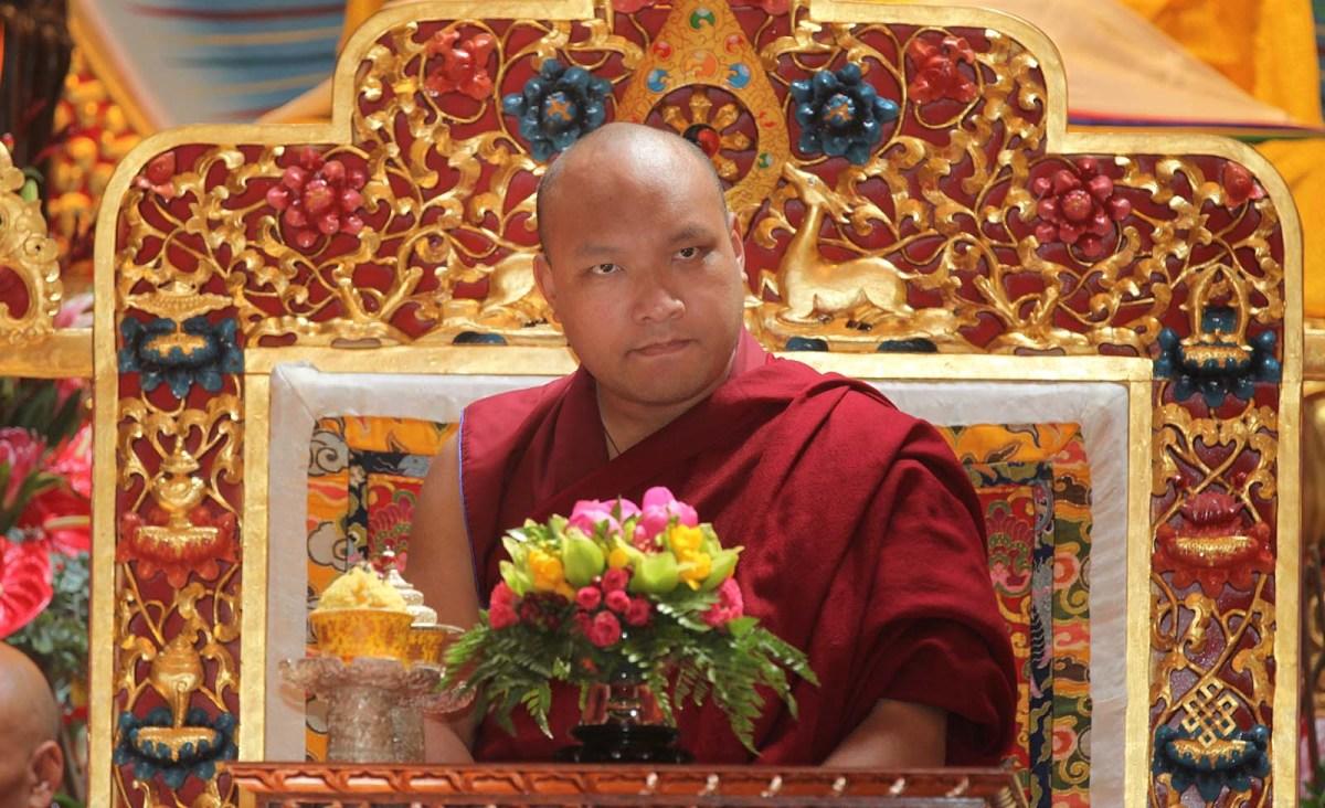 His Holiness the 17th Gyalwang Karmapa Ogyen Trinley Dorje visits the Karma Tekchen Zabsal Ling Toronto Thrangu Centre to cut a ribbon and bless the main prayer hall on June 8, 2017 in Toronto. Photo: Creative Touch Imaging Ltd / NurPhoto