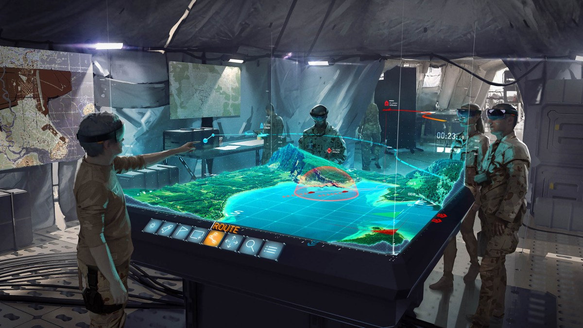 An illustration of the application of holographic imaging in a war room. Photo: Handout