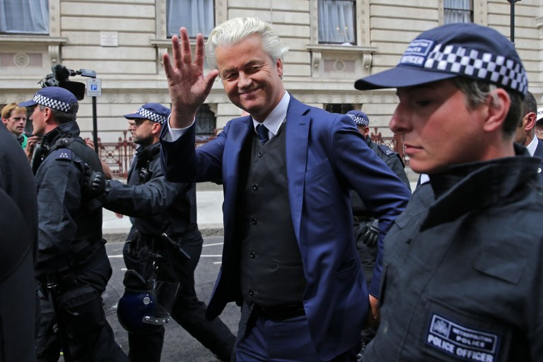 Dutch far-right politician Geert Wilders, who canned a controversial cartoon competition last week that outraged the Islamic world. Photo: AFP/ Daniel Leal-Olivas