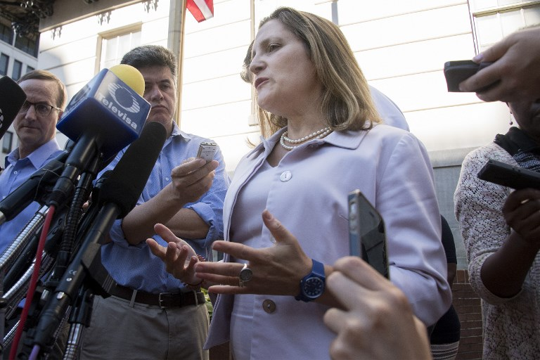 Canadian Foreign Affairs Minister Chrystia Freeland speaks prior to her meeting with US Trade Representative Robert Lighthizer in Washington. Photo: AFP/Jim Watson