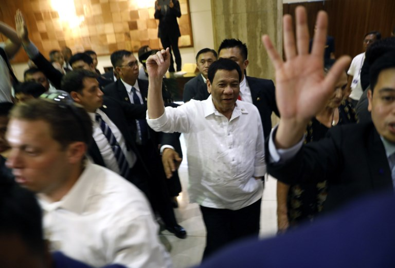 Philippine President Rodrigo Duterte arrives in Jerusalem on September 2. Photo: AFP
