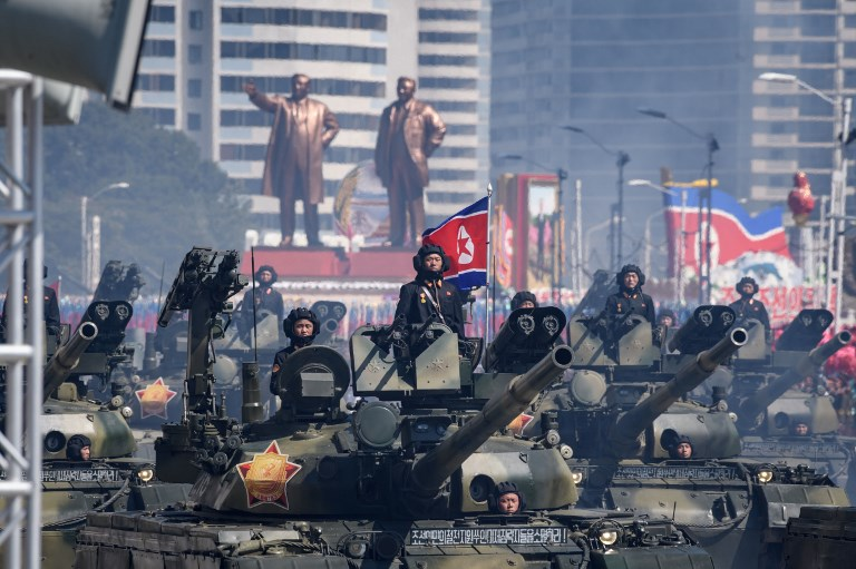 Tanks take part in a military parade in Pyongyang on September 9. Photo: AFP
