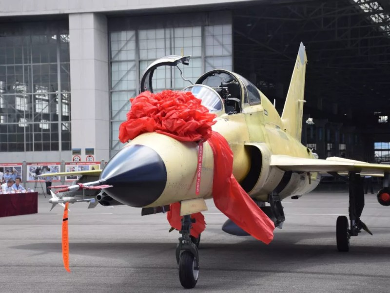 The first plane of the FTC-2000G series during a ceremony held at AVIC's Guizhou plant this week. Photo: Handout