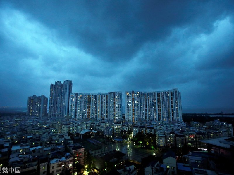 A residential estate in Shenzhen under the shadow of a bed of clouds, after Manghkut made landfall on Sunday. Photo: Weibo via VCG
