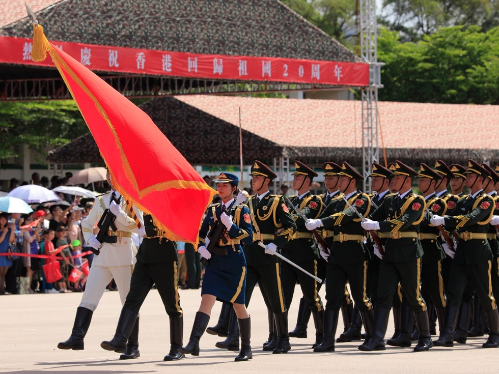 PLA troops are seen during a parade open to the public in Hong Kong. Photo: PLA Daily