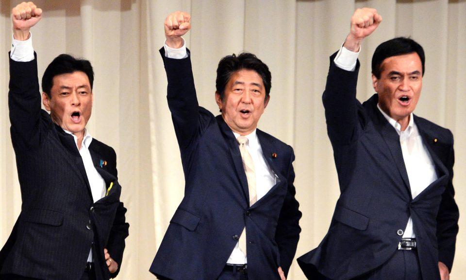 日本首相安倍晉三在2018年8月26日於鹿兒島宣布參加自民黨總裁選舉後 ,舉行了鼓舞士氣的集會。自民黨決定下一屆總裁的選舉將於9月20日舉行。相片:AFP / The Yomiuri Shimbu