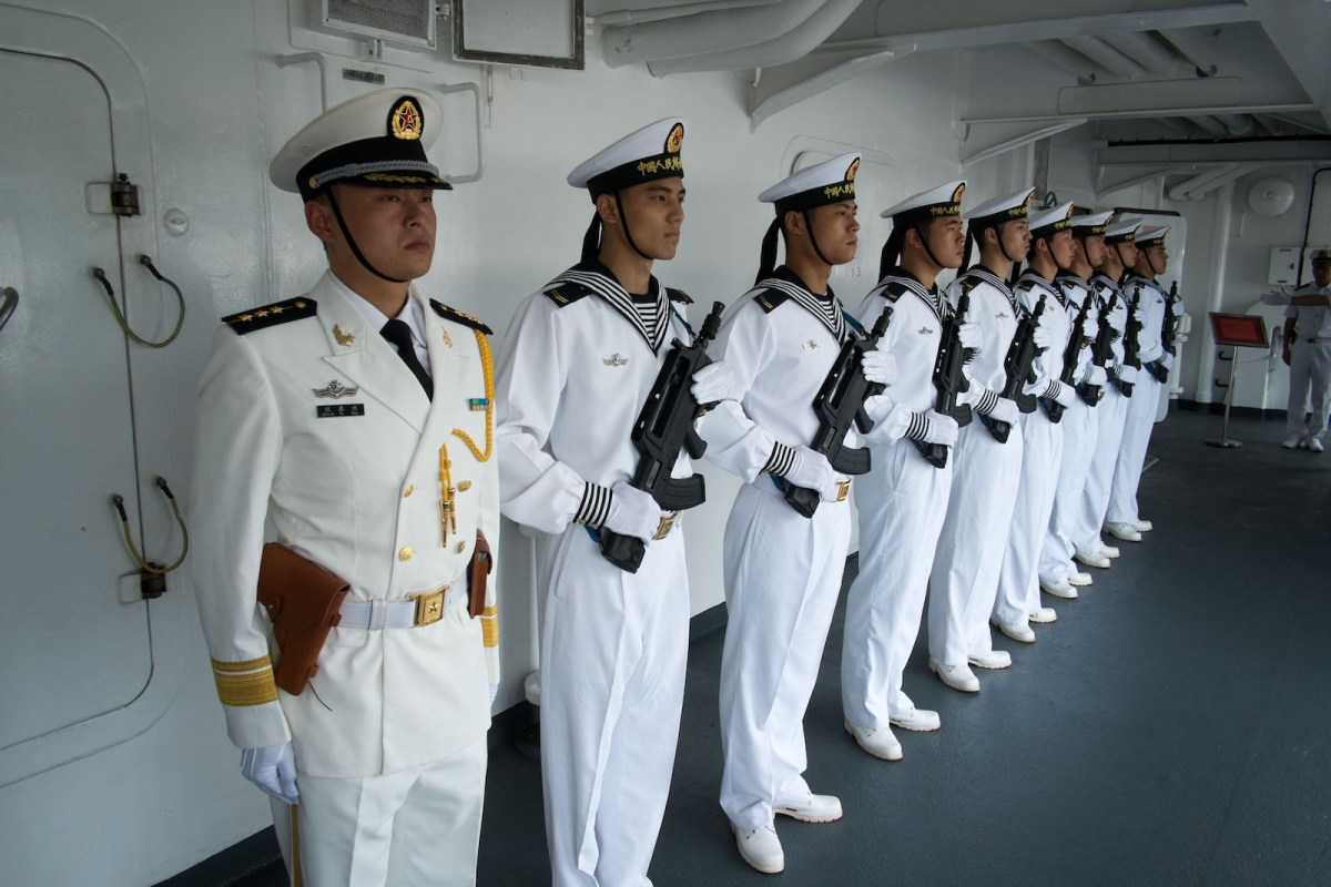 Chinese Marines stand at attention prior to a welcoming ceremony at the start of the ship's stop in the port of Papeete French Polynesia, on October 23, 2015. Photo: AFP/Gregory Boissy