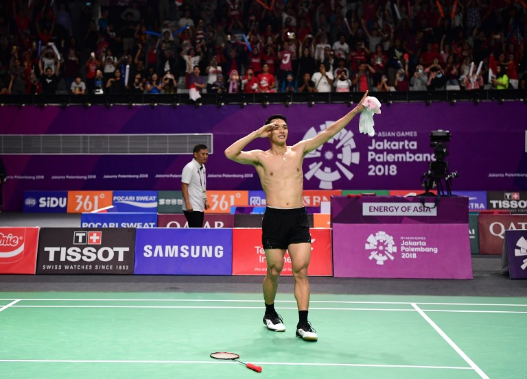 Indonesia's Jonatan Christie takes the men's badminton gold at the Asian Games in Jakarta in August, 2018.  'Jojo', as he is known, was knocked out of the second round of the China Open tournament yesterday. Photo: AFP