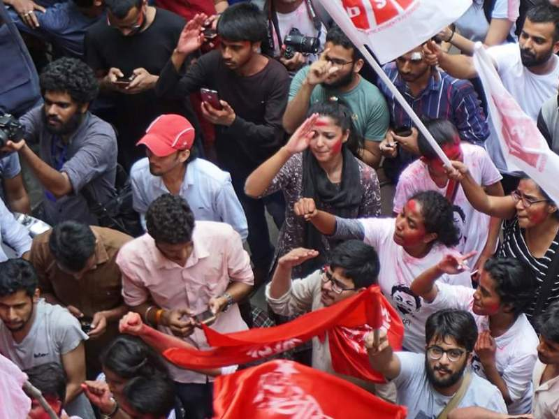 Left Unity students of Delhi's Jawaharlal Nehru University celebrate their victory against a right-wing student organization in the 2018 student elections. Photo: Samim Asgor Ali