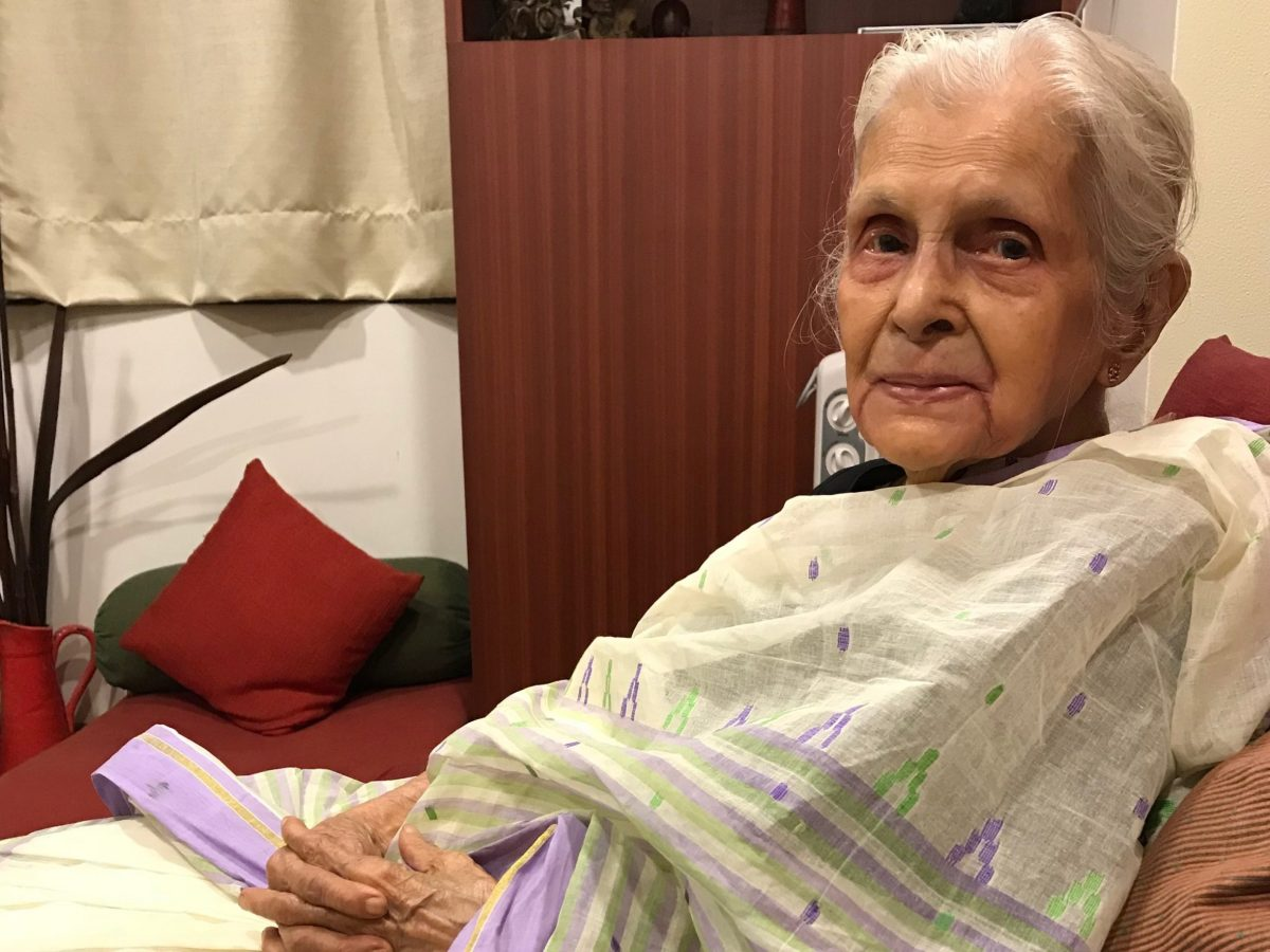 Latika Chakravarty, 89, who makes beautiful bags from old fabrics and has become an online sensation. Photo: Supplied