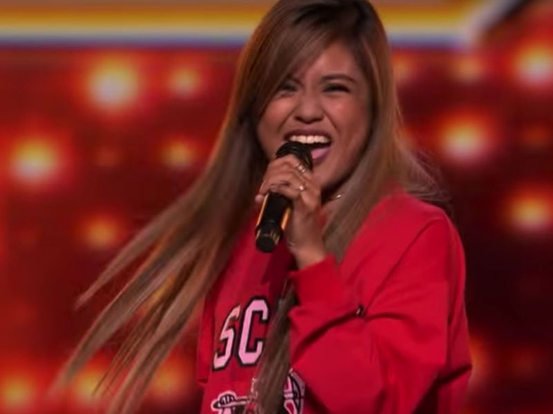 Maria Laroco, 17, had the crowd and judges on their feet with her rendition of Prince's Purple Rain in her audition for X Factor UK. Photo: YouTube