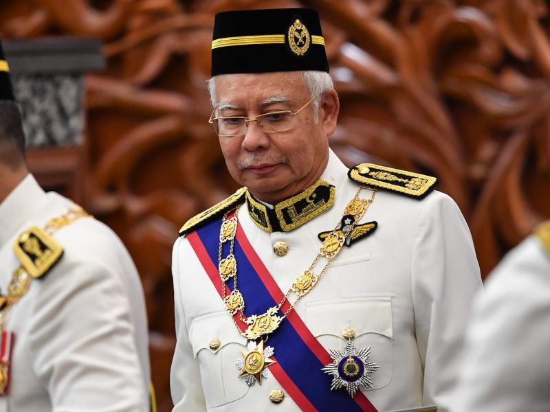 Former Malaysian prime minister Najib Razak, attends the opening ceremony of the parliament in Kuala Lumpur on July 17, 2018. Photo: AFP/Mohd Rasfan