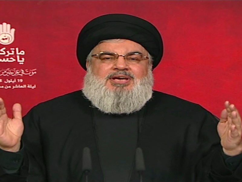 An image taken from Hezbollah's al-Manar TV on Sept 19 shows Hassan Nasrallah, the head of Lebanon's militant Shiite movement Hezbollah, giving a televised address from an undisclosed location. Photo: AFP