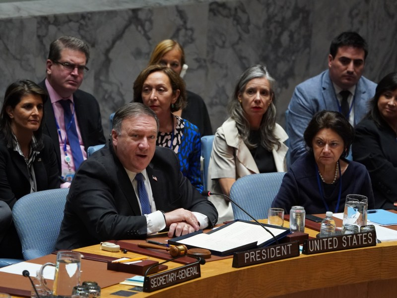 US Secretary of State Mike Pompeo thanks members of the UN Security Council after their meeting on North Korea on Sept 27 in New York. He said sanctions against the North must be enforced 'vigorously'. Photo: AFP / Don Emmert