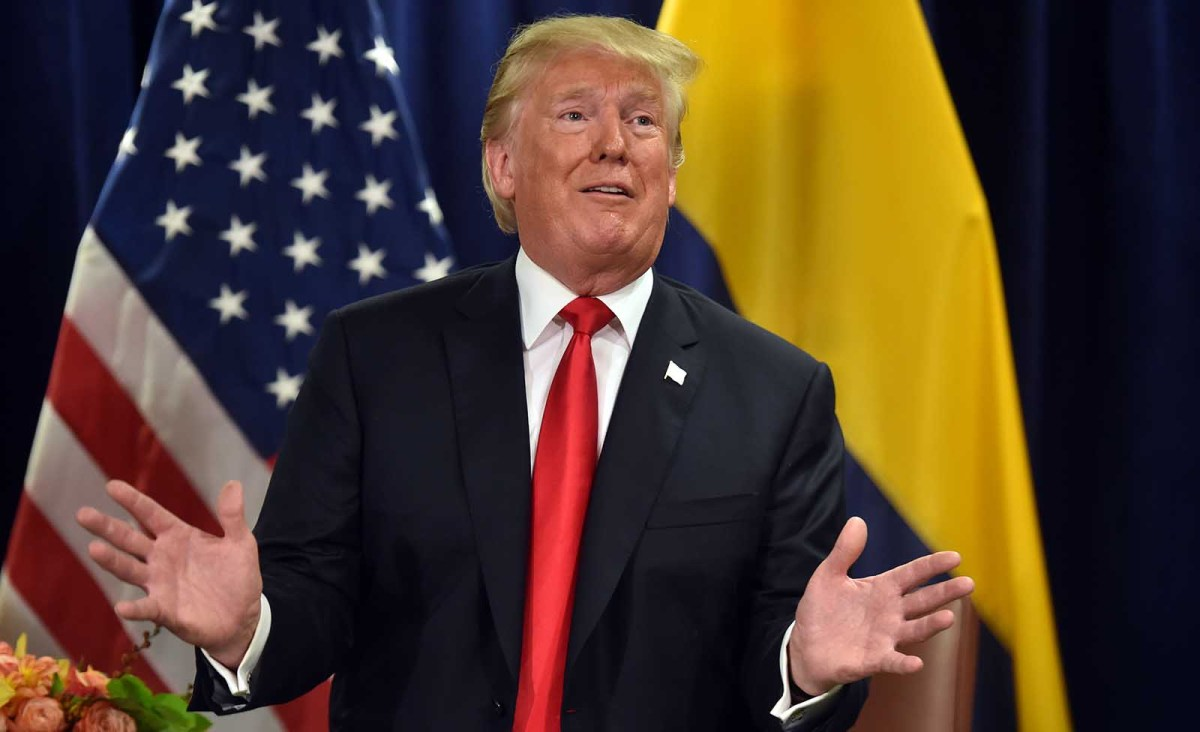 US President Donald Trump speaks during his meeting with Colombian President Iv·n Duque after his speech at the United Nations in New York September 25, 2018. Photo: AFP / Nicholas Kamm
