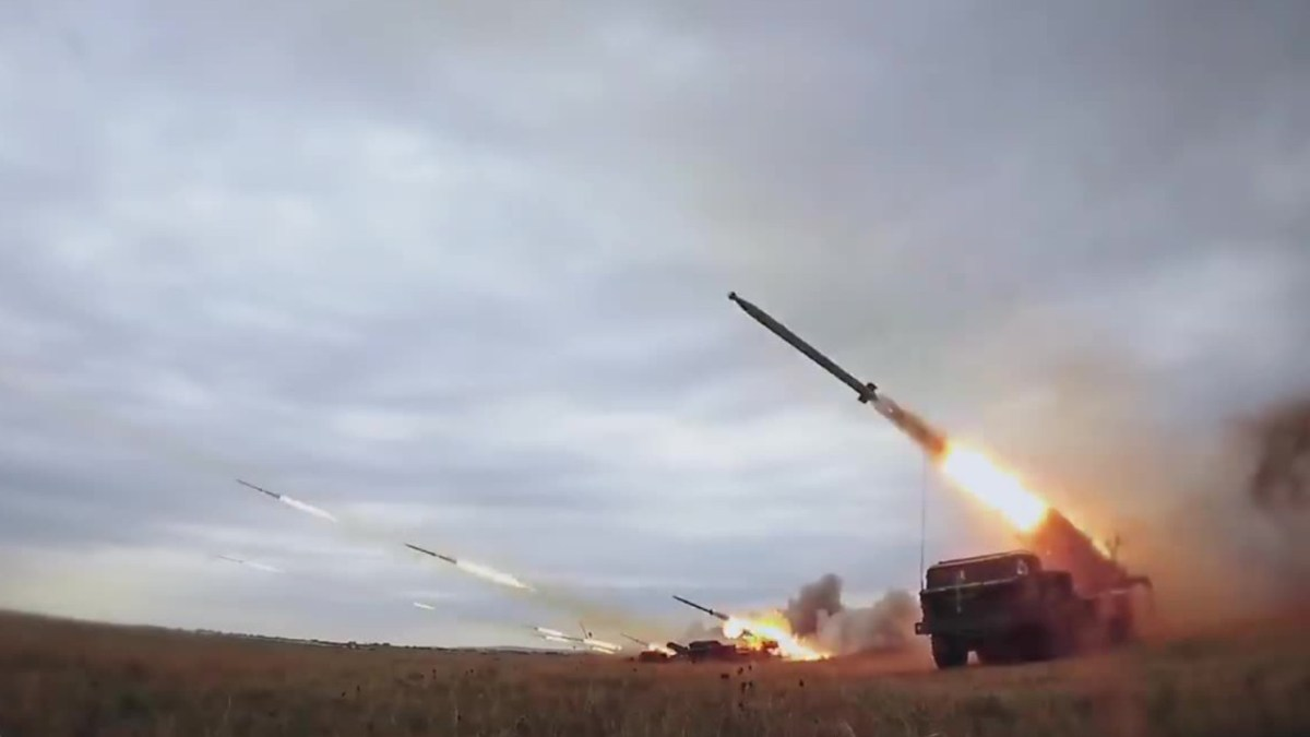 Truck-mounted missiles are fired during the Vostok 2018 war games in Russia. Photo: YouTube screen grab
