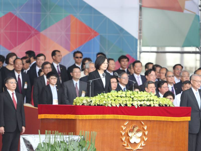 A file photo shows Taiwanese President Tsai Ing-wen delivering a speech at the National Day celebrations on October 10, 2017. Photo: Central News Agency, Taiwan