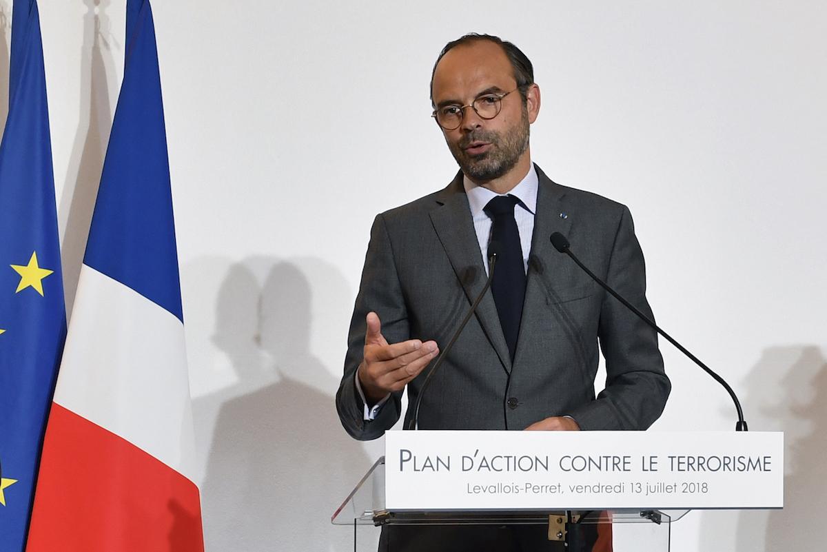 رئيس الوزراء الفرنسي إدوارد فيليب يتحدث أثناء تقديم خطة لمحاربة الإرهاب في وكالة المخابرات الفرنسية في يوليو/تموز 2018. صورة: GERARD JULIEN / AFP