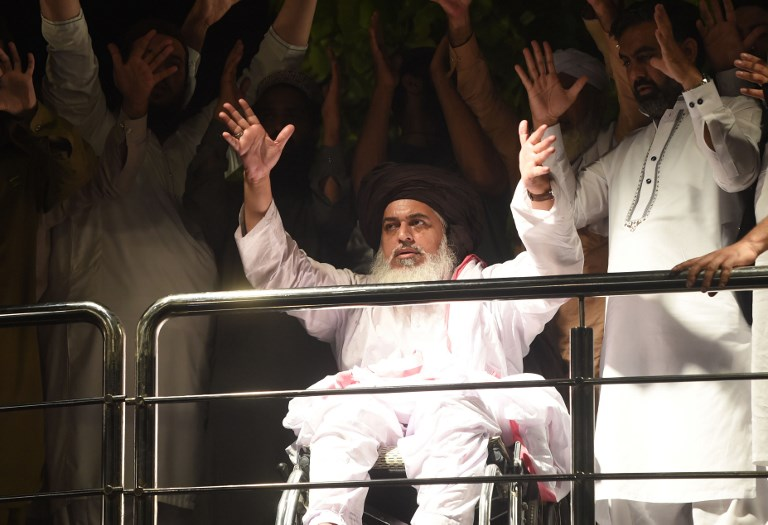 Photo: Tehreek-e-Labbaik Pakistan (TLP) leader Khadim Hussain Rizvi. Photo: AFP / Arif Ali