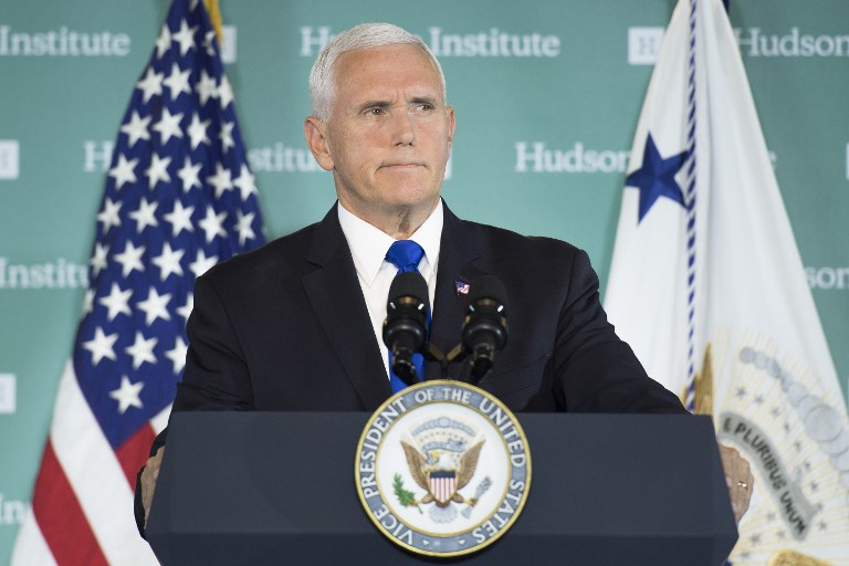 US Vice-President Mike Pence addressing the Hudson Institute on the administration's policy towards China. Photo: AFP/Jim Watson