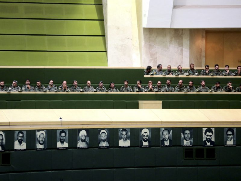 Members of the Iranian Revolutionary Guard listen to a speech in parliament in Tehran on October 7, 2018, over a bill to counter terrorist financing. Photo: AFP/Atta Kenare