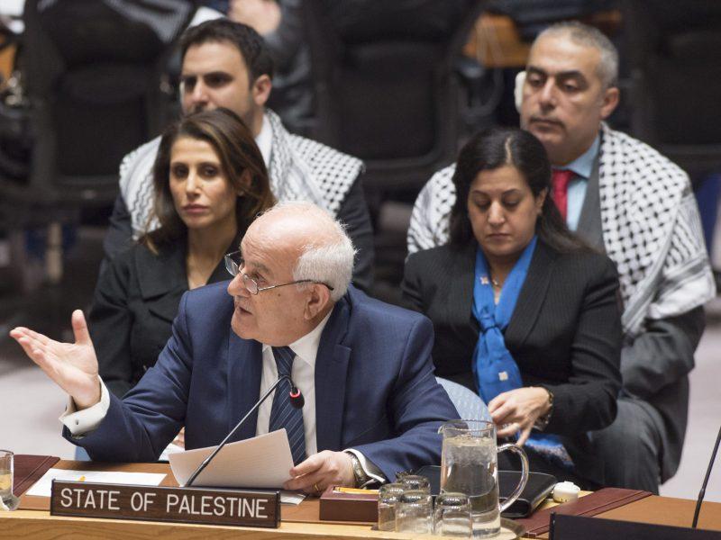 رياض منصور المراقب الدائم لفلسطين لدى الأمم المتحدة يخاطب مجلس الأمن عن الوضع في منطقة الشرق الأوسط بمقر الأمم المتحدة في 17 يناير 2017. صورة:  Eskinder Debebe / UN / AFP