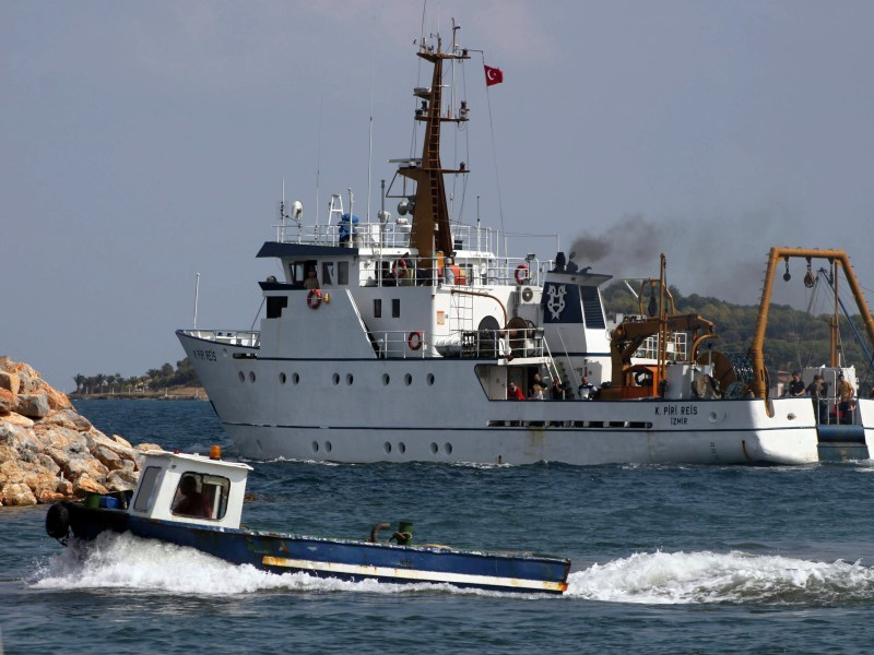 The Turkish vessel Piri Reis leaves the port of Izmir in September 2011 for gas exploration off the divided island of Cyprus. Photo: AFP