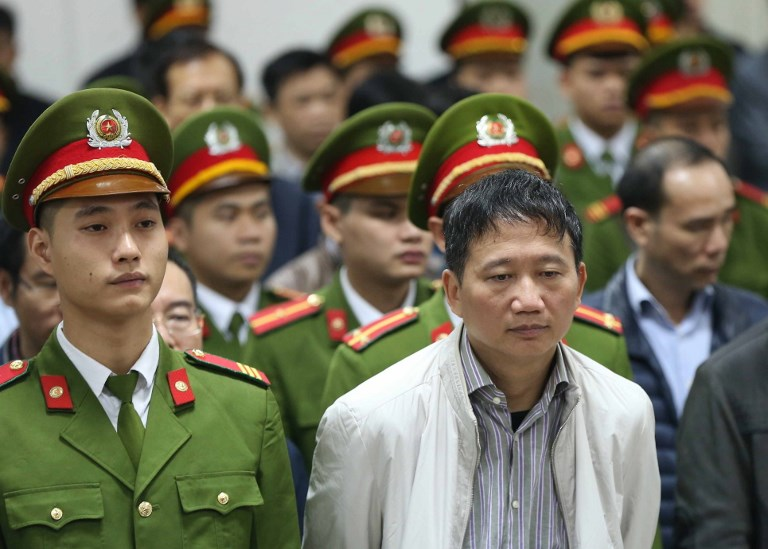 Vietnamese official Trinh Xuan Thanh is told the verdict at the end of his trial at Hanoi's People's Court on January 22. Photo: AFP