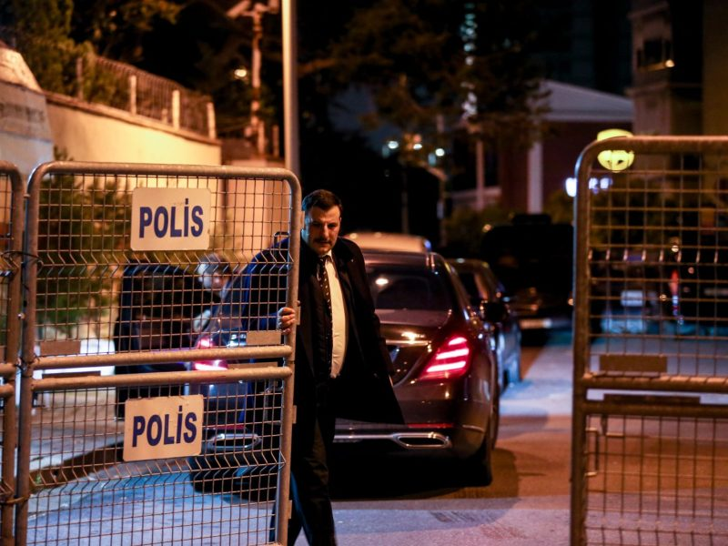 A consulate officer is seen outside the Saudi consulate in Istanbul as the waiting continues on the disappearance of prominent Saudi journalist Jamal Khashoggi. Photo: AFP