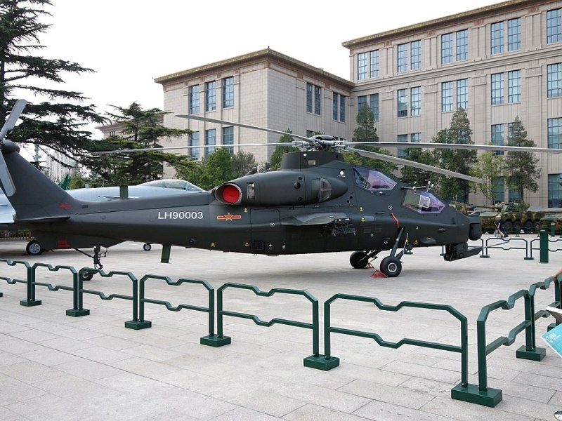 A model of the Z-10 assault helicopter inside Tiananmen Square in Beijing. Photo: WikiMedia