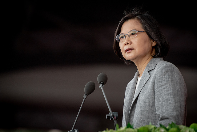 Taiwanese President Tsai Ing-wen delivers a speech at the 107th National Day celebrations on Wednesday. Photo: Handout