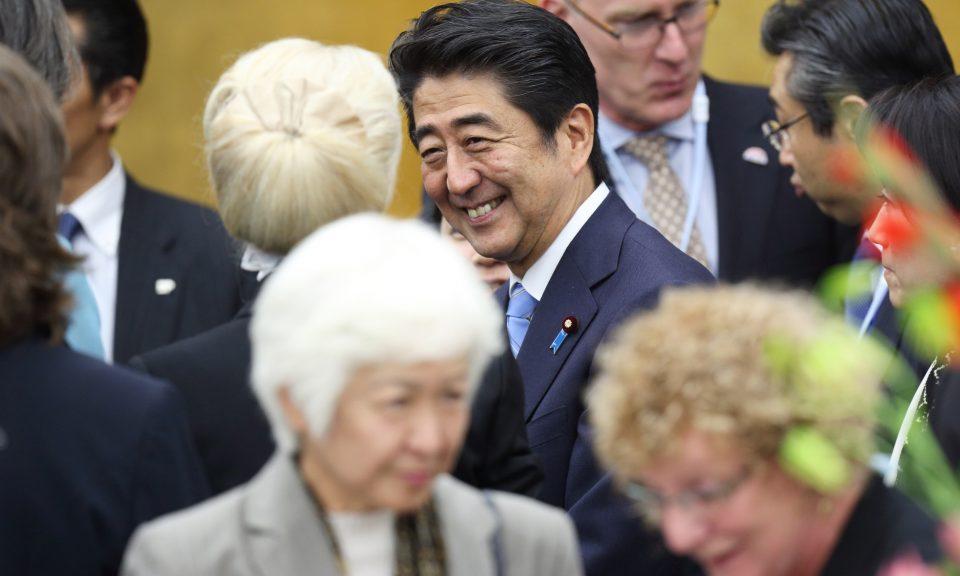 安倍晉三在2014年9月12日出席東京舉辦的「國際女性會議」(WorldAssembly for Women)。相片:AFP / Tomohiro Ohsumi